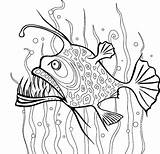 Coloring Seaweed Pages Fish Angler Between Kelp Drawing Template Draw Getcoloringpages Place Tocolor sketch template