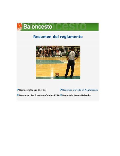 Resumen O Resú by Resumen Reglamento Baloncesto