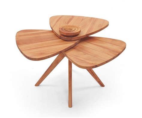 modern tables blending natural wood  flower petal shape