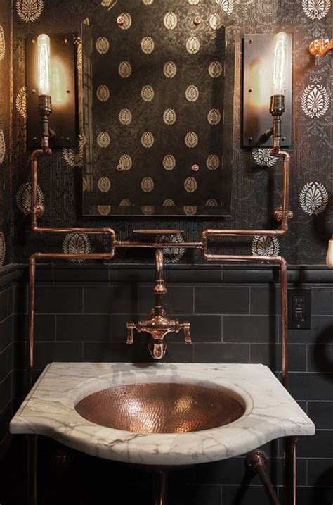 exposed copper piping  black tile  wallpaper