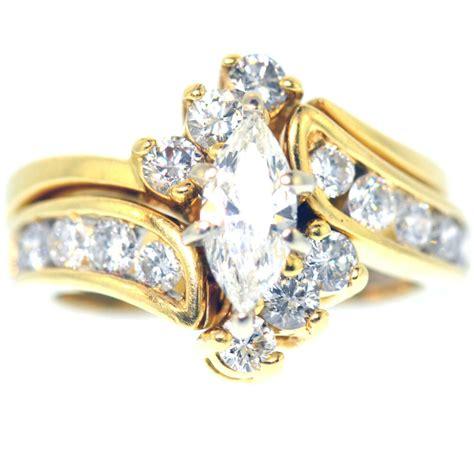 2 carat marquise cut diamond engagement ring set 14k