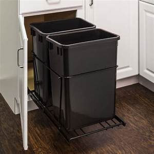 Double 35 Quart Trash Can Pullout - All Cabinet Parts