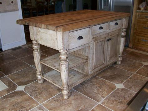 distressed white kitchen island  butcher block