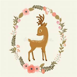 Little Deer In A Floral Wreath Stock Vector - Image: 73011623