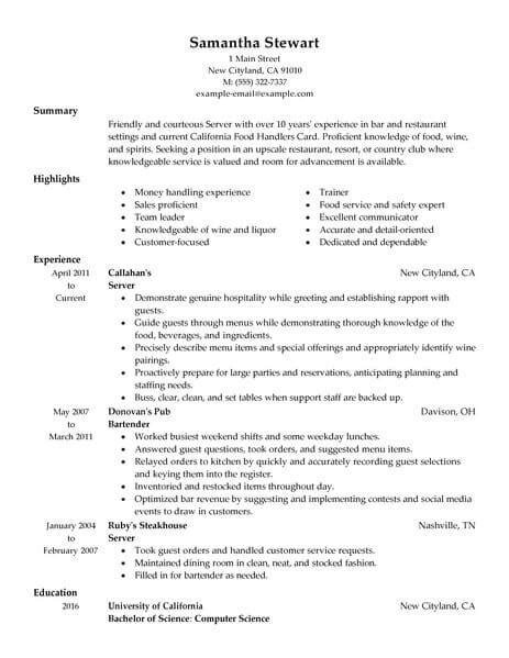 Resume With Server Experience by Restaurant Server Resume 7 Technical Resume
