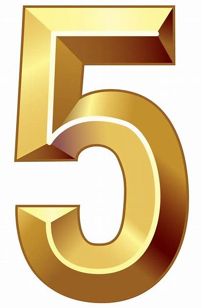Numbers Number Gold Clipart Five Transparent Background