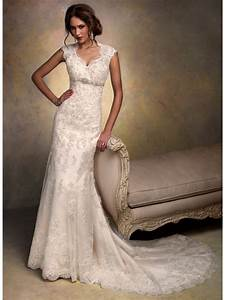 Modest sheath column court train lace vintage wedding for Lacy wedding dresses