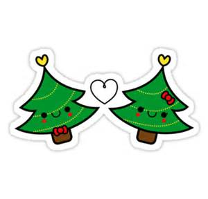 Adorable Kawaii Christmas Tree Couple Stickers