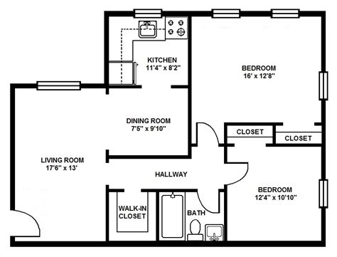 Two Bedroom Floor Plans by Haverford Apartments Floor Plans