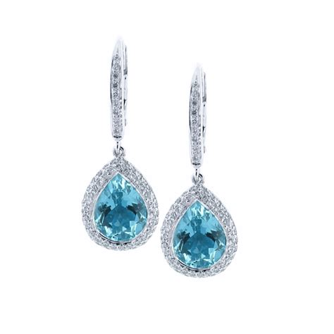 diamond drop earrings uk 18 karat white gold diamond and aquamarine earrings