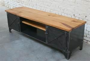 Meuble Tv Metal Bois : meuble vestiaire industriel by68 jornalagora ~ Teatrodelosmanantiales.com Idées de Décoration