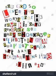 John 316 Ransom Note Style Stock Photo 45342535