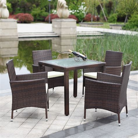 Outside Table Chairs by Ikayaa Us Stock 5pcs Wicker Rattan Outdoor Dinning Table