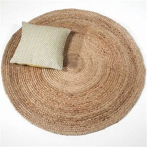 tapis rond en jute naturelle tisse main decoclico With tapis rond naturel