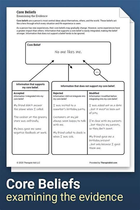 core beliefs examining  evidence worksheet