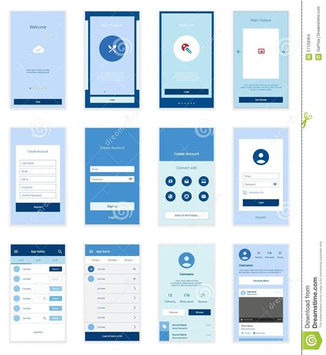 Twitter Home Screen Template by Mobile User Interface 35 Screens Wirefrme Kit For Stock