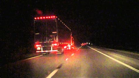 Allowing Big Semi Truck With Lots Of Led Lights To Cut