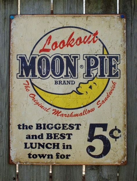 country vintage home decor lookout moon pie ad tin sign garage vintage style home