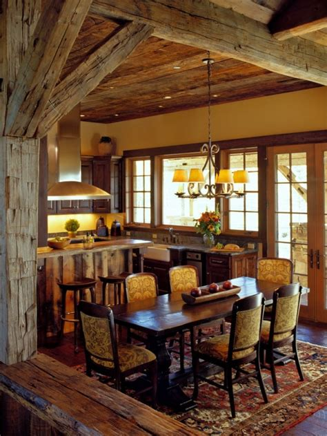 warm cozy rustic dining room designs   cabin