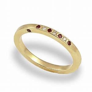 Diamond Garnet Wedding Band Diamond Wedding Ring 14k
