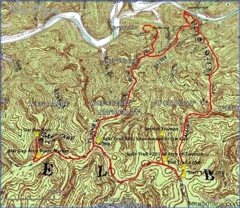 red river gorge hiking map toursmapscom
