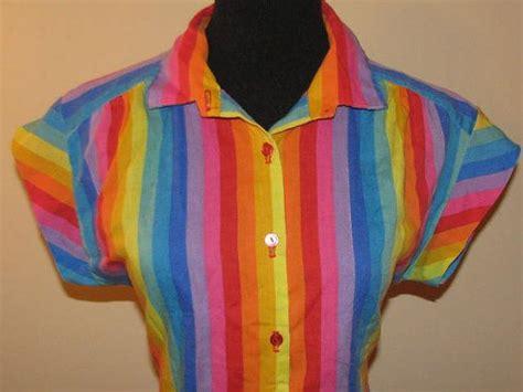 rainbow pride   button  shirt vintage top