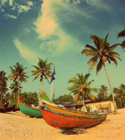 Old Boat On Beach Images by Old Fishing Boats On Beach Vintage Retro Style Stock