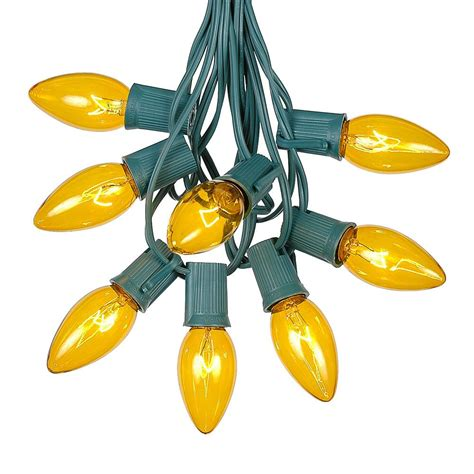 c9 clear christmas lights 100 yellow c9 christmas light set on green wire novelty