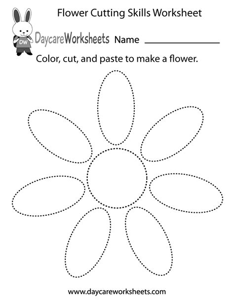 free preschool flower cutting skills worksheet 729 | flower cutting skills worksheet printable