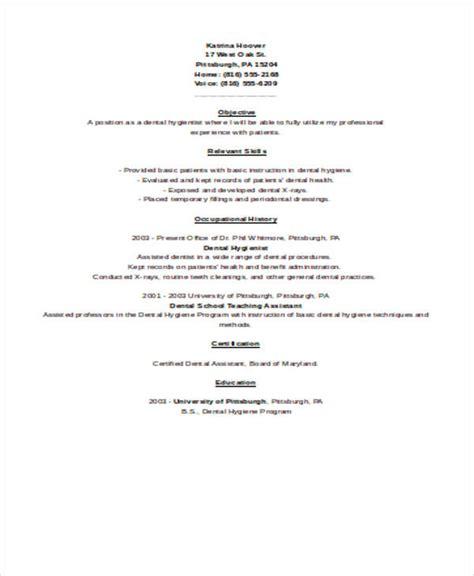 Sle Dental Resume by Sle Dental Hygienist Resume 8 Exles In Word Pdf