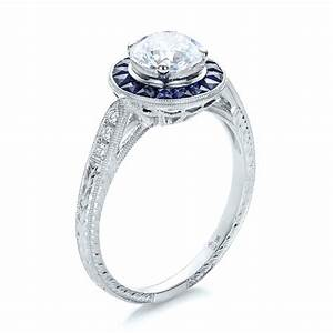 art deco style blue sapphire halo and diamond engagement ring With art deco style wedding rings