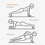 Plank Exercise Workout Cartoon Coloring Side Depositphotos Vrouw Maken Oefening Making Woman Template Training sketch template