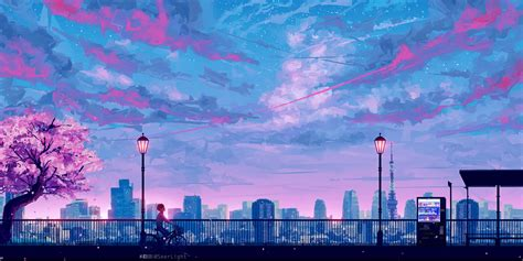 anime cityscape landscape scenery  moto gx