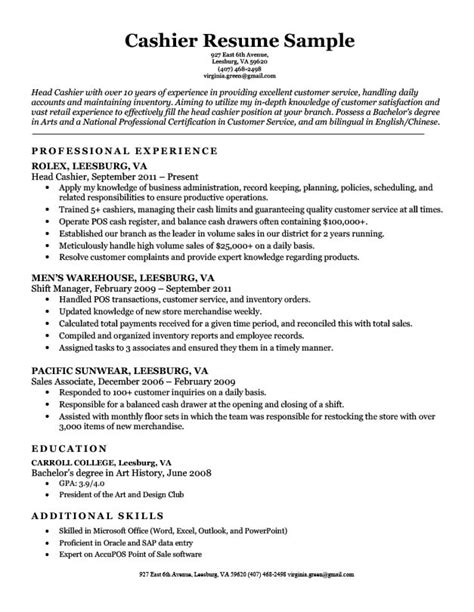 Cashier Duties For Resume by Cashier Resume Sle Resume Companion