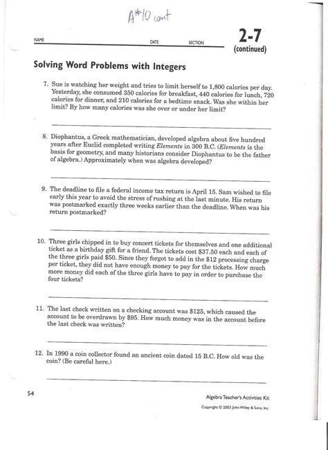 subtracting integers word problems worksheet photo