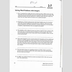 Integer Word Problems Worksheet Grade 7 #1427379  Worksheets Library