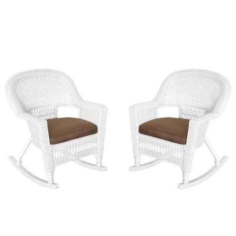 jeco rocker wicker chair in white with brown cushion set