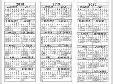 Free Printable Three Year Calendar 20182019 Free