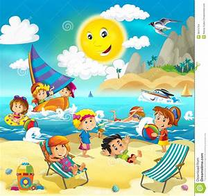 Kids Playing At The Beach - Ocean Stock Illustration ...