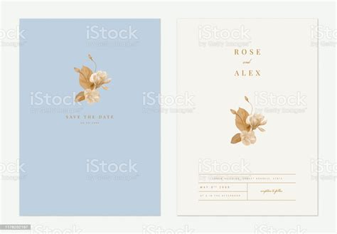 Minimalist Floral Wedding Invitation Card Template Design