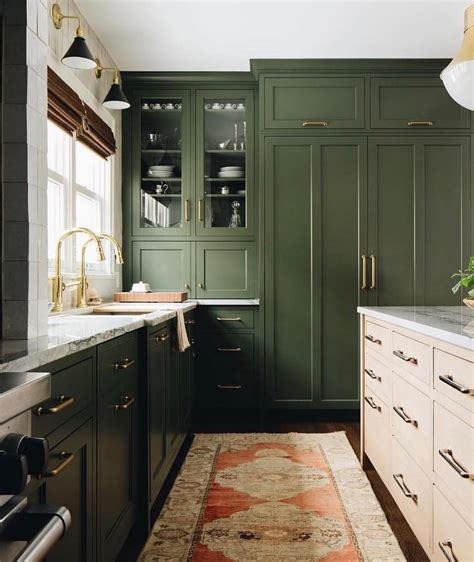 decorist  instagram  olive green  brass kitchen