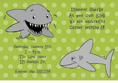 regrets only stationery shark birthday invitations