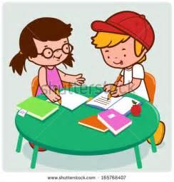 Cartoon Boy Doing Homework