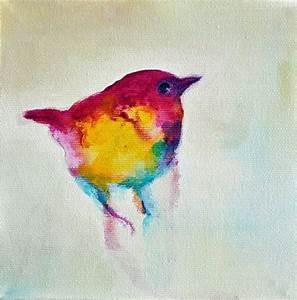 Wren 4 Original Abstract Painting, Bird Art 6x6 inch