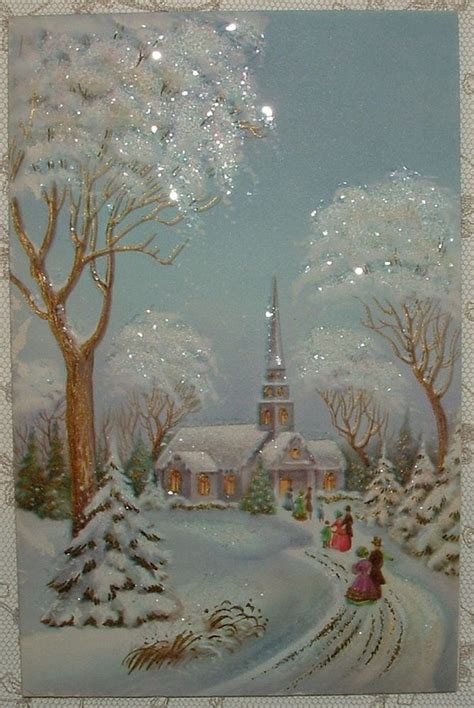 glittered walking  church   snow  vintage