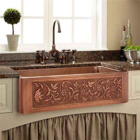 copper kitchen sinks near me 36 quot vine design copper farmhouse sink copper farmhouse