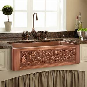 36, U0026quot, Vine, Design, Copper, Farmhouse, Sink