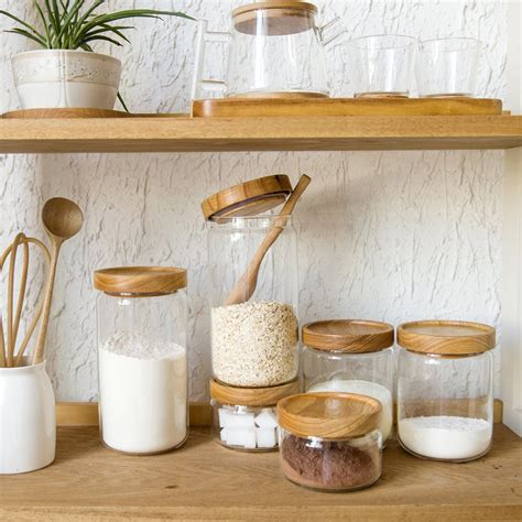 wooden canisters kitchen zakka style glass spice jar kitchen canisters cookie