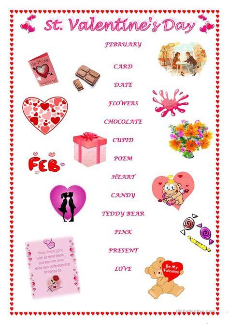 st valentines day matching vocabulary worksheet