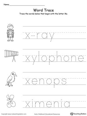 trace words that begin with letter sound x 651 | Tracing Words That Begin With Letter Sound X